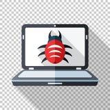 Laptopikone in der flachen Art angesteckt durch Schadsoftware auf transparentem Hintergrund stock abbildung