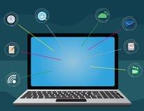 Laptopkommunikation und -netz vektor abbildung