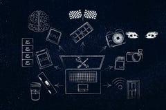 Laptopkomponenten nahe bei ihrem aus dem wirklichem Leben Begriffsäquivalent Stockfoto