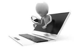 Laptopkonzept des Mannes 3d Such Stockfotografie