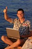 Laptopmann Lizenzfreie Stockfotos