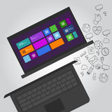 Laptopnotizbuchfunktions-Ikonenillustration Stockbilder