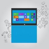 Laptopnotizbuchfunktions-Ikonenillustration Lizenzfreie Stockfotografie