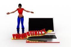 Laptopproduktivität der Frauen 3d Lizenzfreie Stockfotos