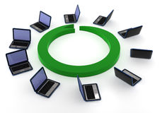Laptops. 3d computer generated image  image of a circle of laptops isolated on white background Stock Images