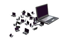 Laptops. Flying laptops on white; computer generated stock illustration