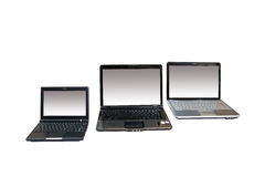 Laptops. Three modern laptops on whire background stock photo