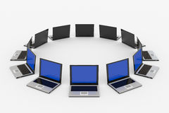 Laptops around the ... Concept of global network Royalty Free Stock Photography