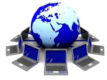 Laptops around earth globe. 3d illustration of laptops connected to earth globe Royalty Free Stock Photos