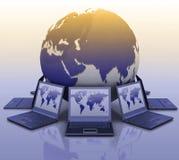 Laptops around a globe. 3d illustration on white background Stock Photo
