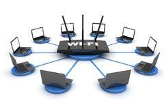 Laptops around WIFI Router Stock Photos