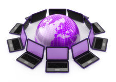 Laptops around the world. 3d computer generated image of computer laptops around a purple globe isolated on white Royalty Free Stock Image