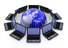 Laptops around the world. 3d computer generated image of computer laptops around a blue globe isolated on white Stock Images
