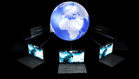 Laptops Around The World Stock Photos