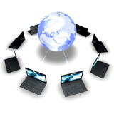 Laptops Around The World. Black laptops around a globe isolated on white background Stock Photos