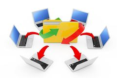 Laptops Arranged in a Circle Around Folder with Glowing Red Arro. Ws Connections on a white background. 3d Rendering Royalty Free Stock Image