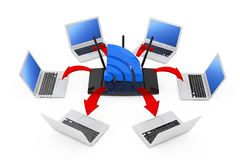 Laptops Arranged in a Circle Around a Modern WiFi Router and WiF. I Sign with Glowing Red Arrows Connections on a white background. 3d Rendering Royalty Free Stock Images