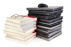 Laptops and books Royalty Free Stock Images