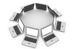 Laptops in circle Royalty Free Stock Images