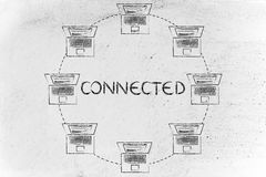 Laptops in a circle shaped network, with text Connected Stock Photography