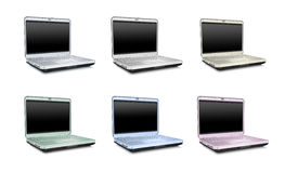Laptops collection. Laptops isolated over white - Color variations Royalty Free Stock Photography