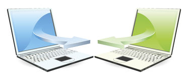 Laptops communicating. Via wireless technology concept Stock Photography