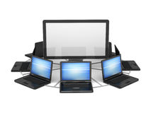 Laptops and computer monitor Stock Photo