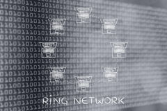 Laptops connected in a ring network structure Stock Images