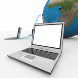 Laptops connected to the earth sphere. Stock Photo