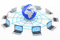 Laptops connected to the Internet World Wide Web Royalty Free Stock Image