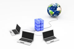 Laptops connected to world Royalty Free Stock Photos
