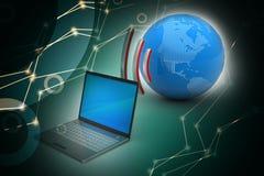 Laptops draadloze verbinding met aarde Stock Foto's
