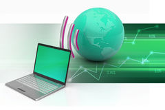 Laptops draadloze verbinding met aarde Stock Fotografie