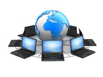 Laptops and earth globe - computer network Stock Photo