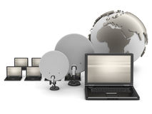 Laptops, earth globe and satellite on white background Royalty Free Stock Photos