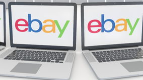 Laptops with eBay Inc. logo on the screen. Computer technology conceptual editorial 4K clip, seamless loop. Laptops with eBay Inc. logo on the screen. Computer stock video footage