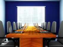 Laptops in an empty room. 3D rendering of an empty meeting room Royalty Free Stock Photo