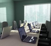 Laptops in an empty room. 3D rendering of an empty meeting room Royalty Free Stock Image