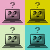 Laptops with faces stock illustration