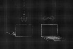 Laptops Front And Back With Link And Anchor Icons Above Them