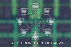 Laptops in a fully connected network structure with caption. Fully connected network: laptops connected with each other Royalty Free Stock Photography
