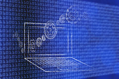 Laptops with gearwheels coming in and out Stock Photography