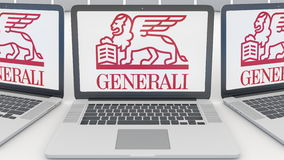 Laptops with Generali Group logo on the screen. Computer technology conceptual editorial 3D rendering Royalty Free Stock Photos