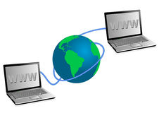 laptops and globe Stock Photos