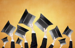 Laptops in hands Royalty Free Stock Image