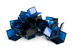 Laptops heap. Lot of laptops, piled in a heap. Hi-res digitally generated image vector illustration