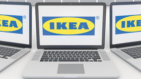 Laptops with Ikea logo on the screen. Computer technology conceptual editorial 3D rendering. Laptops with Ikea logo on the screen. Computer technology conceptual stock illustration