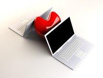 Laptops in Liefde Royalty-vrije Stock Fotografie