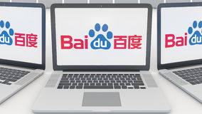 Laptops met Baidu-embleem op het scherm Computertechnologie het conceptuele redactie 3D teruggeven Royalty-vrije Stock Afbeeldingen