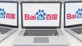 Laptops mit Baidu-Logo auf dem Schirm Wiedergabe des Computertechnologiebegriffsleitartikels 3D Lizenzfreie Stockbilder